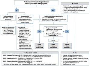 Esquema de las recomendaciones de manejo de los fármacos anticoagulantes y antiagregantes en los pacientes con COVID-19 graves. AAS: ácido acetilsalicílico; ACOD: anticoagulante oral directo; AVK: antivitamina K; DD: dímero D; ETEV: enfermedad tromboembólica venosa; FA: fibrilación auricular; FG: filtrado glomerular; FIB: fibrinógeno; HBPM: heparina de bajo peso molecular; HNF: heparina no fraccionada; RN: rango de normalidad; TIH: trombocitopenia inducida por heparina; VMI: ventilación mecánica invasiva; VMNI: ventilación mecánica no invasiva.