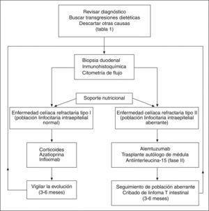 Algoritmo de manejo de la enfermedad celíaca refractaria.