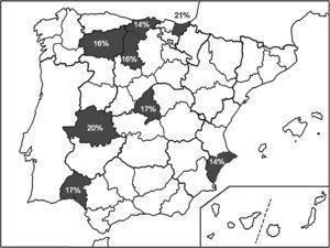 Provincias españolas (sombreadas en gris) en las que se ha evaluado la tasa de resistencia de H. pylori a claritromicina (valor numérico) desde 2007 a 2012.