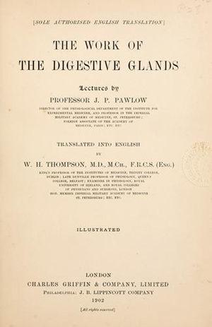 Portada del libro publicado en 1902 por Ivan P. Pawloff (1849-1936). La más importante contribución a la fisiología de la digestión.
