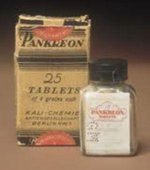 Primera presentación comercial de comprimidos de enzimas pancreáticas en 1900.