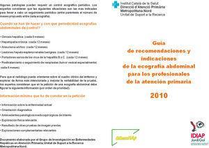 Guía de recomendaciones e indicaciones de la ecografía abdominal para los profesionales de la atención primaria.