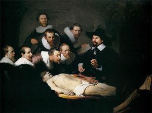 Óleo titulado Lección de anatomía del Dr. Nicholaes Tulp pintado por Rembrandt en 1632 (Museo Mauritshuis, La Haya, Países Bajos).