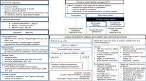Algoritmo de manejo integral del paciente con hepatitis alcohólica. Evaluación diagnóstica, tratamiento específico, complicaciones hepáticas y abordaje del trastorno por cosumo de alcohol. AST: aspartato-transaminasa. ALT: alanin-transaminasa. GGT: ganmaglutamil-transferasa. INR: internationa normalized ratio. VHA: virus de hepatitis A. VHB: virus de hepatitis B. VHC: virus de hepatitis C. VHE: virus de la hepatitis E. CMV: citomegalovirus. EBV: Epsteinbar Virus. ANA: anticuerpos antinucleares. AML: anticuerpos anti-músculo liso. MEDL: model of end stage liver disease. ABIC: Age, bilirubin, INR, creatinine score. PBE: peritonitis bacteriana espontánea. ITU: infección del tracto urinario. SHR: síndrome hepatorrenal.
