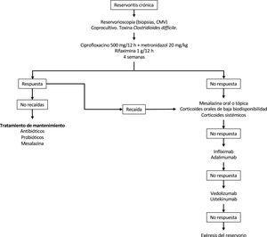Posible algoritmo de tratamiento de las reservoritis crónica.