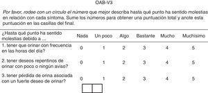 Versión española del cuestionario OAB-V3. Tomada y modificada de Brenes et al.38.