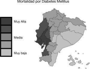 Mapa de la tasa de mortalidad por diabetes mellitus en Ecuador. En Ecuador la mortalidad causada por diabetes mellitus fue mayor en las provincias de Guayas, Los Ríos y Manabí, ubicadas en la costa del océano Pacífico. Mapa de la tasa de mortalidad por diabetes mellitus (muertes/100.000 individuos por año, INEC 2011). Esta figura es parte de una figura publicada originalmente por Neira-Mosquera y col.6 con leves modificaciones (con permiso para reproducción).