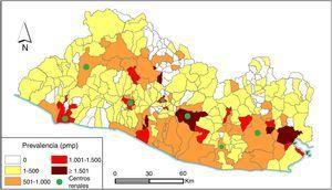 Prevalencia por municipios de 3.204 pacientes en tratamiento sustitutivo renal de El Salvador, año 2014.