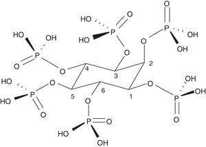Estructura del ácido fítico (InsP6).