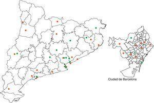 Localización geográfica en Cataluña de los centros de hemodiálisis (HD), diálisis peritoneal (DP) y trasplante renal (TR).