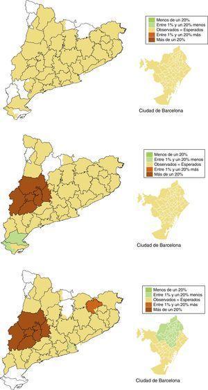 Mapa de razones estandarizadas de incidencia de tratamiento sustitutivo renal con diálisis peritoneal (de arriba abajo) en menores de 45 años, entre 45 y 65 años y mayores de 65 años (2002-2012). Las zonas en blanco indican que no hay pacientes tratados.