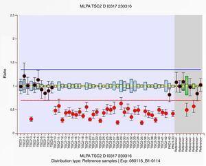 El estudio de MLPA P337 mostró una deleción en heterocigosis en los exones 10 al 42 del gen TSC2, así como en los exones 30 y 40 de del gen PKD1.
