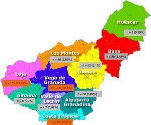 Pacientes nacidos en Granada con PQRAD en los que se conoce la comarca de nacimiento a 31 de diciembre de 2016 (n=847).