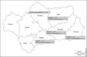 Distribución de los pacientes según provincias y procedencia hospitalaria o extrahospitalaria.