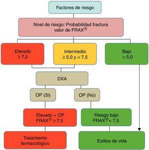 Diagrama de decisiones de acuerdo con la opción más coste-efectiva en la cohorte española FRIDEX de mujeres españolas (población general) que no recibieron tratamiento durante los 10 años de seguimiento47. DXA o DEXA: Dual-Energy X-ray absorptiometry; OP: osteoporosis.