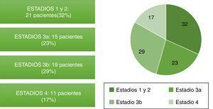 Distribución por estadios de enfermedad renal crónica de los pacientes.