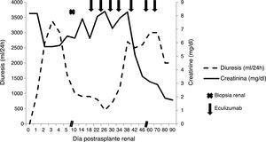 Evolución de la creatinina y la diuresis.