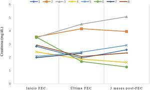 Evolución de los niveles de creatinina sérica durante y tras el tratamiento con FEC.