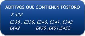 Códigos en el etiquetado referidos a los aditivos con contenido en fósforo. Reglamento Unión Europea 201172.