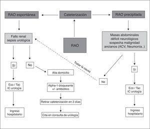 Algoritmo del manejo urgente de la RAO en hombres. ACV: accidente cerebrovascular; Eco: ecografía; IC: interconsulta: RAO: retención aguda de orina; Tac: tomografía computarizada.