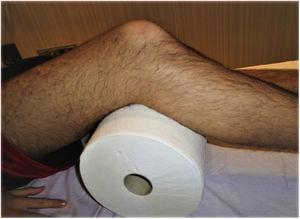 Posición de la rodilla para el estudio ecográfico.