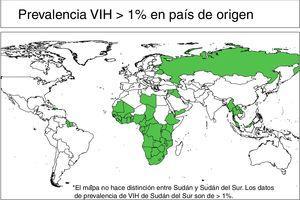 Mapa recomendación CRIBMI de cribado de VIH.