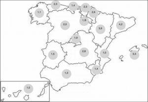 Distribución de los documentos según comunidades autónomas (n.° de documentos/100.000 habitantes).