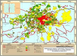 Pacientes con asma, vías de comunicación terrestre de la ciudad y emisión de gases y PM10 por industrias de Morelia, México, 2000-2010.
