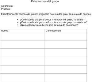 Ficha de las normas del grupo.