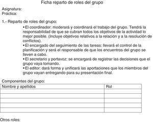Ficha del reparto de roles del grupo.
