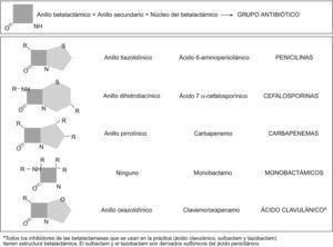 Estructura química de los betalactámicos.