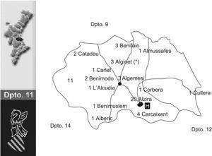 Distribución geográfica de los casos de meningitis aséptica en el Departamento de Salud n.° 11 de la Comunidad Valenciana. *Primer caso (10/11/2007).