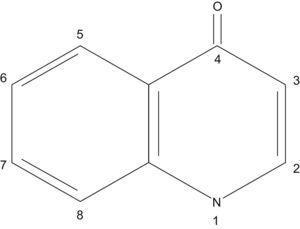 Estructura de la 4-quinolona, molécula de donde derivan muchas de las quinolonas usadas en clínica.