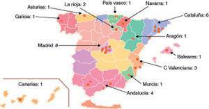 Distribución geográfica de los centros participantes en la cohorte.