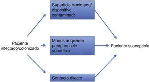 Rutas de transmisión a través de superficies. Modificado de Otter et al.24 y Kramer et al.27.