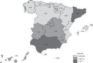 Incidencia de hospitalización por tos ferina (por 100.000 habitantes) por comunidades autónomas en España (1997-2011).