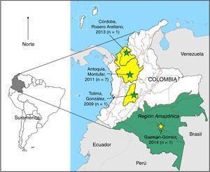 Distribución geográfica (departamentos) de los casos reportados de melioidosis originarios en Colombia, 2009-2014.