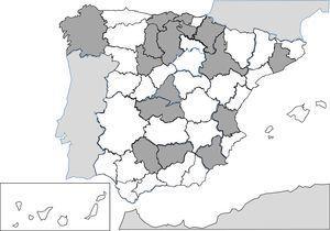 Provincias con casos publicados de anisakidosis (1990-2015).