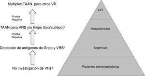 Propuesta de algoritmo de flujo de trabajo racional y costo-efectivo para la investigación de virus respiratorios (VR). a Excepto para pacientes incluidos en programas de vigilancia (p.ej. Red Nacional de Vigilancia de Gripe). b Excepto situaciones especiales: embarazo, enfermedad de base predisponente, etc.; en los que se hará directamente TAAN. c TAAN para otros VR (rinovirus, metapneumovirus…), pueden ser añadidos en pacientes con alto riesgo de enfermedad respiratoria grave. Modificada de Navarro-Marí et al.45.