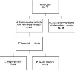 Distribution of the D. fragilis-infected and uninfected patients and household contacts enrolled in this study.