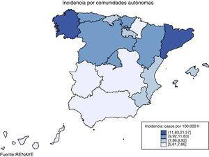 Tuberculosis. Tasas por 100.000. Incidencia por Comunidades Autónomas.