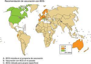 Recomendación de vacunación con BCG. En beige los países que incluyen BCG en su programa de vacunación (A), en naranja los países que vacunaron con BCG pero no lo hacen actualmente (B), y en verde los países que BCG solo está indicada en grupos específicos de población (C). Fuente WHO Global Tuberculosis Report 2017.