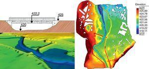 Sección transversal con vista 3D del talud del puente (izquierda), y MDT utilizado en el modelo numérico donde puede observarse el trazado de las motas de protección frente a inundaciones (derecha).
