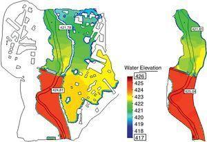 Extensión de la inundación y altura de la lámina de agua calculada considerando motas rebasables definidas mediante una sobreelevación del MDT (izquierda) y motas no rebasables definidas como contornos tipo pared (derecha).
