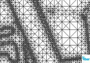 Malla de cálculo formada por una Red Irregular de Triángulos Rectángulos (RTIN).