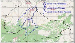 Limites municipais da cidade de Nova Friburgo contendo as bacias do rio Cônego e rio Santo Antônio.