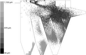 Posición instantánea de las partículas dentro del clasificador para una velocidad de entrada de 10m/s.