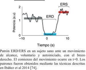 Patrón ERD/ERS característico de un sujeto sano. Patrón ERD/ERS en un sujeto sano ante un movimiento de alcance, voluntario y autoiniciado, con el brazo derecho. El comienzo del movimiento ocurre en t=0. Los patrones fueron obtenidos mediante las técnicas descritas en Ibáñez et al.74.