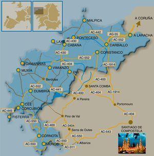 Mapa con la situación geográfica de A Costa da Morte en la costa atlántica de Galicia.