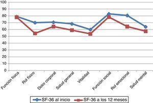 Representación gráfica de las puntuaciones de las 8 dimensiones de la escala SF-36 en la visita inicial y a los 12 meses.